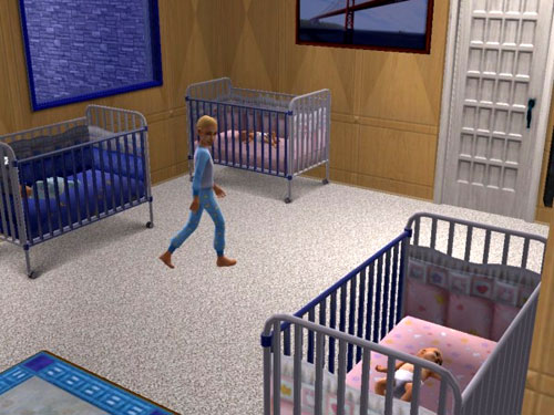 Aaron walks through the foyer, between a blue crib and two pink ones