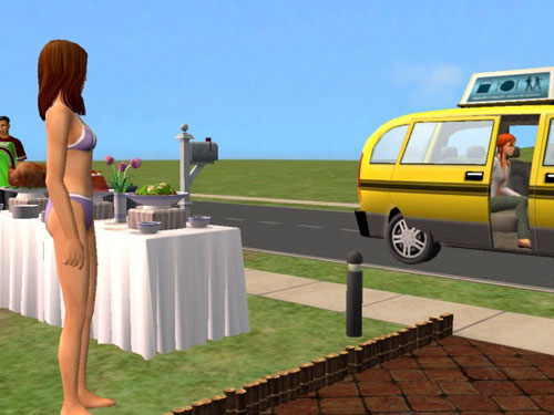 Joan watches the taxi take Candice away.