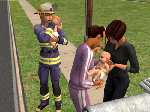 At the bus stop, Melissa hands a baby to Christy.