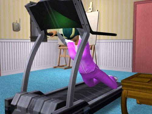 Christy falling down on the treadmill