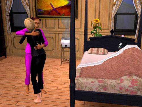Christy and Sandy hugging