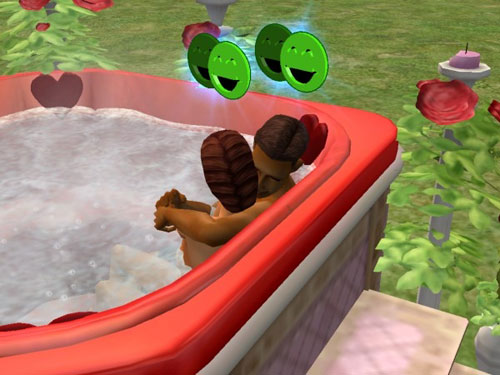 Damion and Professor Lyndsay embrace in the hot tub