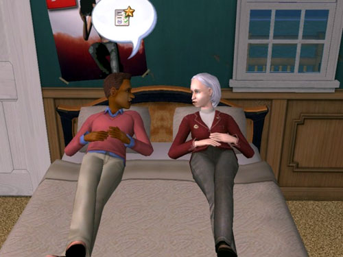 Damion and Professor Jane discuss grades on the bed