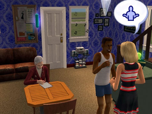 Damion chatting with a cheerleader while Professor Jane does his homework for him