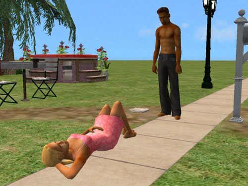 Damion encounters a young woman lying on the sidewalk