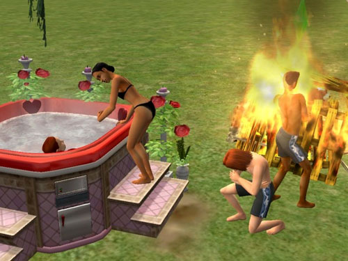 Damion dancing around (or in) the bonfire, and Professor Jenna getting into the tub with Justin