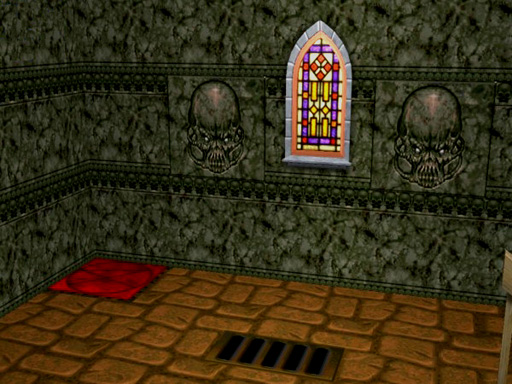 A Sims 2 interior with Doom textures on the walls and floor
