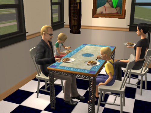 Four Langeraks at breakfast