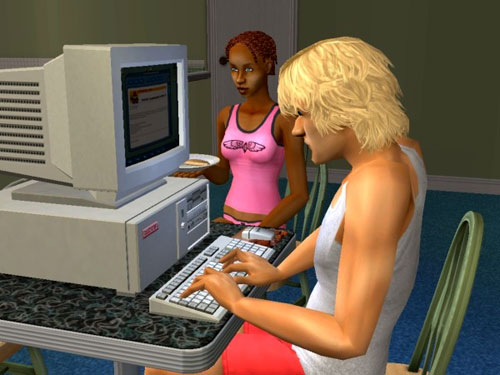 George at the keyboard job-hunting; Sheila in her undies eating pancakes