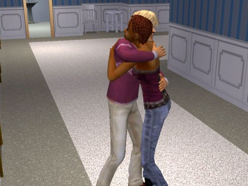 George and Sheila hug in the hallway