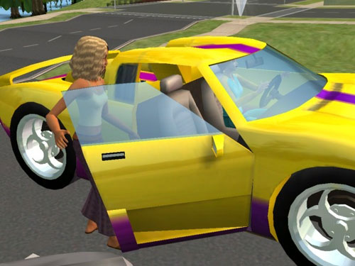 Gina and her Classy Yellow Sportscar