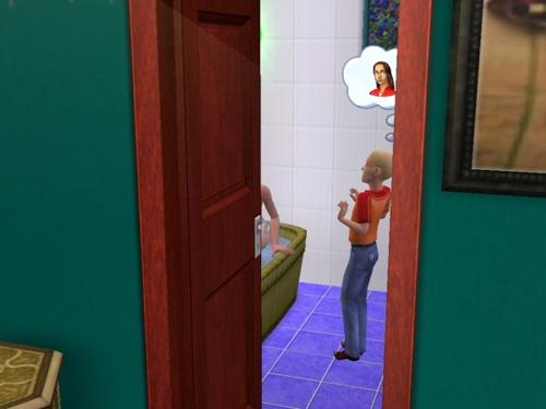 A little boy surprises Jane in the bath