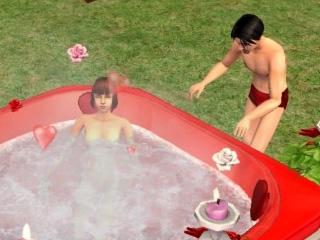 Jean Danvers nude in the hot tub; Peran considering getting in