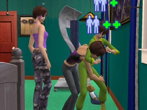 Teenage Jen noogies teenage Jan