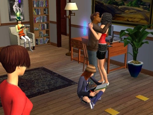 Joe and Eleanor kiss, while the twins skill calmly
