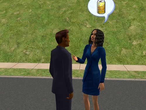 Joe discusses canned beverages with a raven-haired beauty