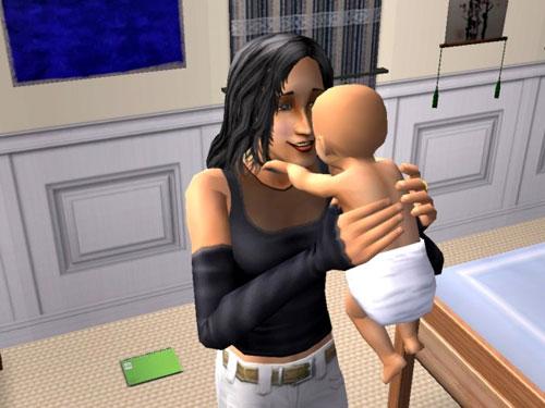 Awwww!  Kaylynn admires her newborn son.
