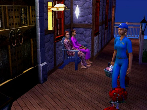 Mitch, siting with Christy on the front porch bench in their jammies, watches the grocery delivery girl