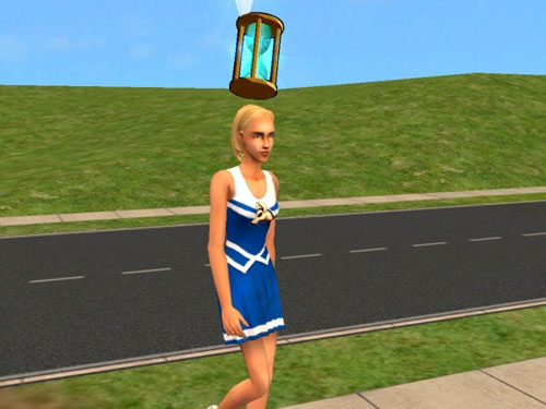 Olivia modelling a wholesome cheerleader outfit