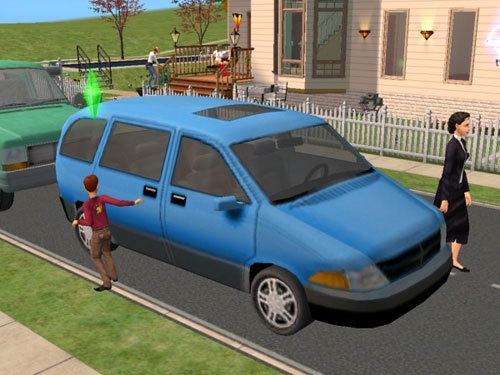 A blue van pulls up in front of the Love Nest