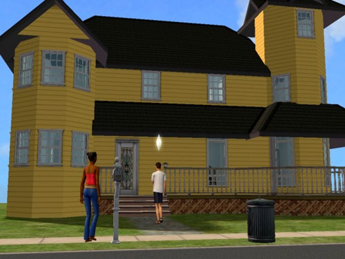 The couple and their new yellow house
