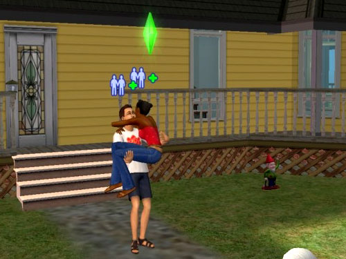 Randy carries Regina across, or at least somewhere near, the threshold