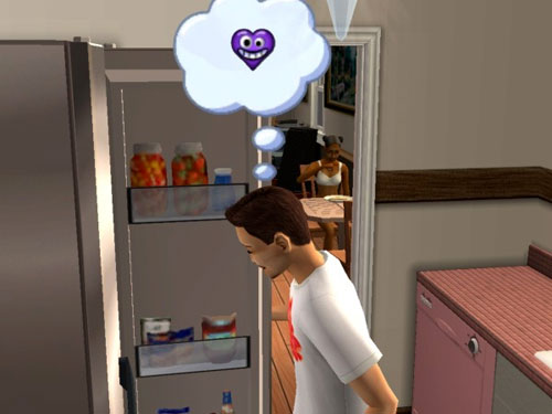 Randy happily thinking about woohoo while making breakfast