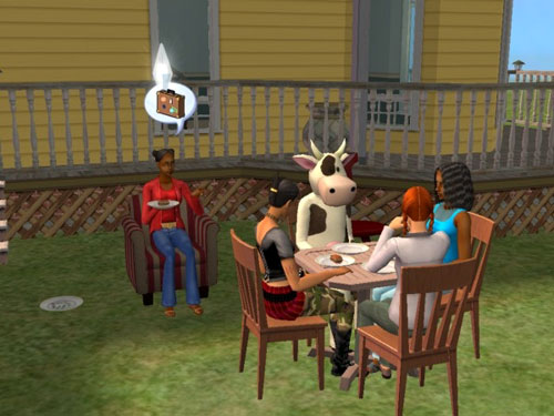Regina hosts a party on the lawn; guests include a cow