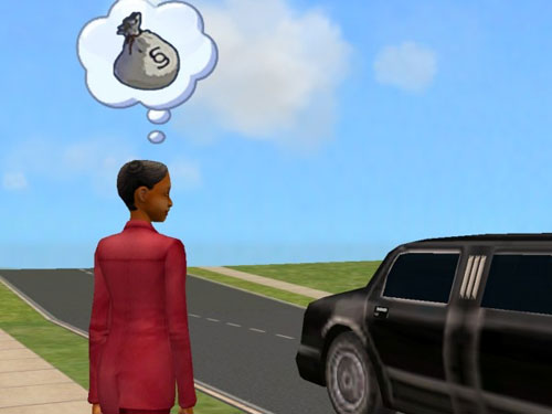Regina looks at a limo and thinks of bags FULL of money