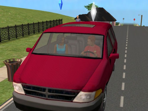 Remington and Ivy in the Casa Townie red minivan