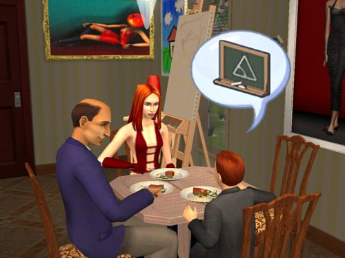 Sally and Phoenix and the headmaster at dinner