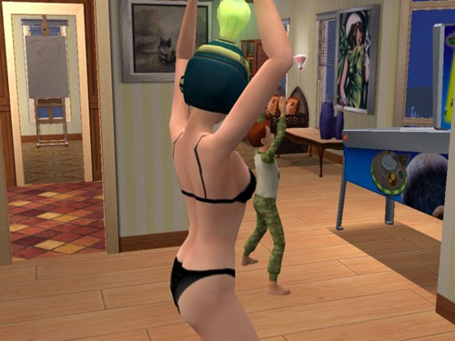 Sally (in her undies) and Phoenix, doing jumping jacks