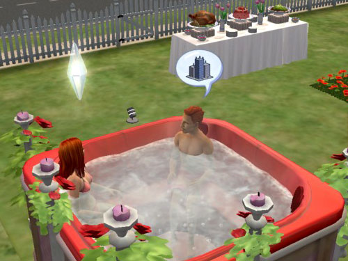 Sally and the pizza man in the hot tub