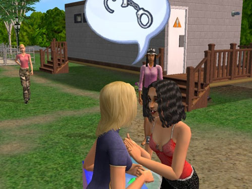 Suzette talking to a dark-haired woman about handcuffs
