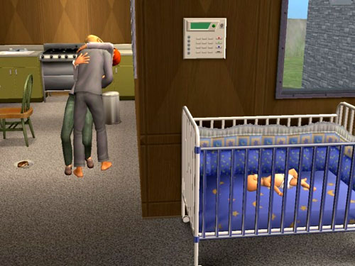 Baby Aaron sleeps in his crib in the foyer while his parents smooch in the background