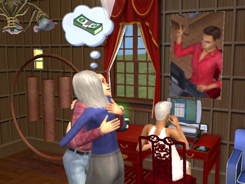 Marisa hugs her son; Ransom is still at the keyboard